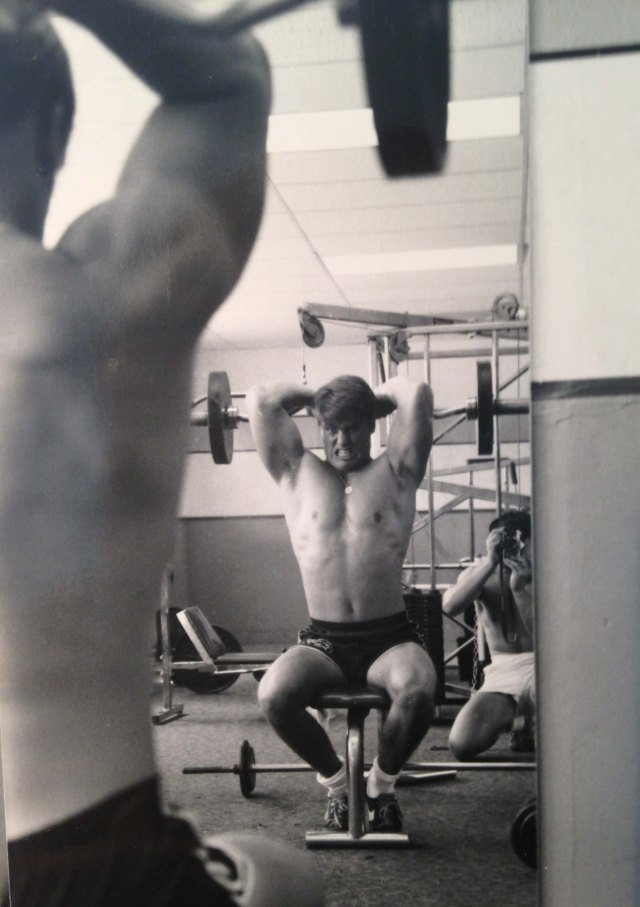 With Bob Wheat, working out 5-6 days a week on the Navy base in the early 1980's, San Diego, CA
